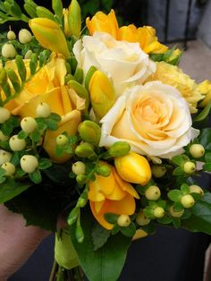 Fall Spring Summer Winter freesia, roses Ivory Yellow Bouquet Wedding Flowers Photos & Pictures - WeddingWire.com