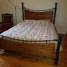 8041782229dc Wentworth Cast iron wood queensize bed and side Tables