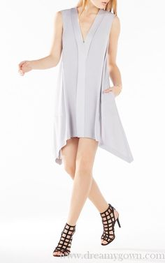 BCBG Abrianna A Ling Short Summer Dress 2016 Grey
