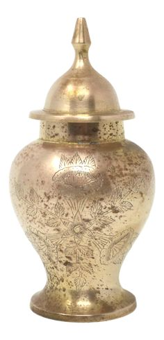 Vintage Brass Ginger Jar or Urn With Engraved Flowers on Chairish.com