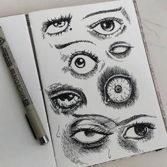 Scary Eyes, Creepy Faces, Arte Horror, Horror Art, Art Sketches, Art Drawings, Horror Drawing, Japanese Horror, Junji Ito
