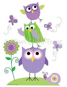 Kids Wall Art Purple animals set by EllenCrimiTrent on Etsy
