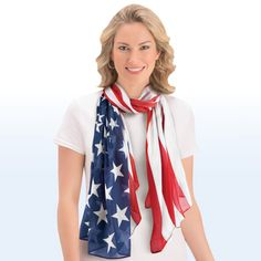 Celebrate your patriotism with this lightweight stars and stripes scarf. Oversized scarf features a classic American flag design and is great for celebrating all year long! Patriotic Party, Patriotic Decorations, Collections Etc, Oversized Scarf, Striped Scarves, American Pride, Flag Design, Celebrities, Style