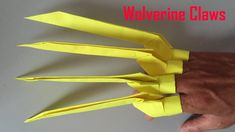 How to Make Paper Claws - Easy Origami Folds - Wolverine DIY Cool Paper Crafts, Paper Crafts Origami, Diy Crafts, Easy Origami, Origami Folding, Origami Claws, Paper Claws, Yellow Paper, Paper Toys