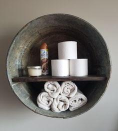 DIY Rustic Wash Tub Shelf for the bathroom adorable Rustic Bathroom Designs, Rustic Bathrooms, Modern Bathroom, Laundry Room Bathroom, Laundry Rooms, Outhouse Bathroom Decor, Target Bathroom, Houzz Bathroom, Bathroom Niche