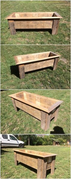 Cool, cozy and pleasant wood pallet planter box has been offered out to make it as part of your house. It is shaded with the light wood pallet brown paint color makes it look so innovative and different in look.