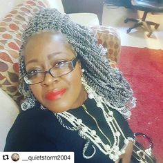 Ms. Erika has switched up her game and has gone into protective mode with this gorgeous 2-strand twist protective style.  #Repost @__quietstorm2004 wGood morning everyone!! #teamnatural #grayhair #blackandwhite #blackbeauty #mixedgirl #love #african #grayhair #gray #melanin #longhairstyles #embraceyourgray #silverfox #silver #protectivestyles #grayhairdontcare #grombre #silvergirlsrock #longhairstyles #senegalesetwist #crochetbraids #twists #braids #lovetheskinyourein #haircare #beauty…