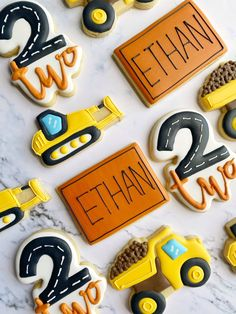 3rd Birthday Party For Boy, Second Birthday Ideas, Birthday Themes For Boys, Birthday Party Decorations, Third Birthday, Construction Cookies, Construction Theme Cake, Construction Party Decorations, Construction Birthday Parties