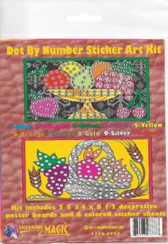 #7776-7777S Fruit Dot Art. This Package includes 2- 5 3/4 x 8 1/2 Backers and corresponding dots.