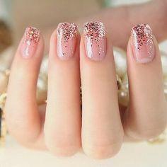 Acrylics + Soft pink + glitter fade