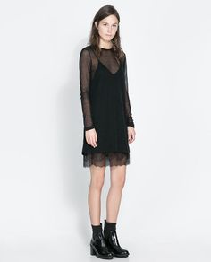 ZARA - WOMAN - DOUBLE LAYER LINGERIE STYLE AND MESH DRESS - 199 lei - alternative to trousers
