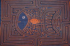 Kuna Abstract Traditional Mola Hand Stitched Applique Art Angel Fish Maze 43A   eBay