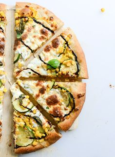 Sweet Corn, Zucchini + Mozzarella Pizza | How Sweet Eats