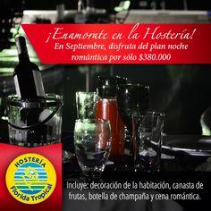¡En #Septiembre enamórate en la #HosteriaFloridaTropical! Disfruta de nuestros planes de noche romántica por sólo $380.000. Visita nuestro sitio web http://www.hosteriafloridatropical.com/ y conoce nuestros planes.  Incluye: decoración de la habitación, canasta de frutas, botella de champaña y cena romántica.