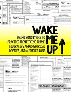 Wake Me Up By Aloe Blacc Figurative Language & Poetic Devices Activities #Pop #Music