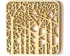 Dessous de verre bois, découpé au laser. Bouleau Coaster. Style d'arbre GREENWOODLT
