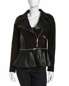 Moto Leather Asymmetric Zip Jacket, Caviar by Man Repeller for PJK at Neiman Marcus Last Call.