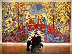 """Morrisseau in front of his painting """"Androgyny"""" at the opening of his solo exhibition """"Norval Morrisseau—Shaman Artist"""" at the National Gallery of Canada, Ottawa, Parkinson's disease confined Morrisseau to a wheelchair in the last years of his life. Kunst Der Aborigines, Art Fund, Woodland Art, Canada, Indigenous Art, Naive Art, Canadian Artists, Aboriginal Art, Outsider Art"""
