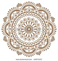Mehndi brown mandala flower in Indian henna style for tatoo or card. Vector illustration isolated on white background