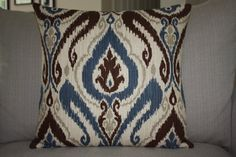 Wedgewood Blue Ikat 20x20 Decorative Designer Throw by EastEndSaje