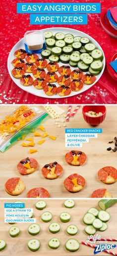 These cute, quick appetizers are made with 4 ingredients or less! Layer pepperoni and cheese on crackers to resemble Red, or punch holes in crunchy cucumbers to make pig noses (store the ranch dipping sauce in a Ziploc® Twist 'N Loc® container). Great ideas for an Angry Birds party or after school snacks.   See The Angry Birds Movie in theaters May 20th. ©2016 Rovio