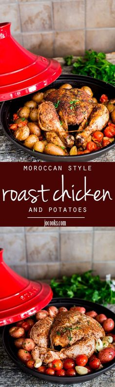 Moroccan Style Roast Chicken and Potatoes is slowly cooked in a tagine and filled with intense Moroccan flavor. 5 minute prep time is all you need for this delicious roast chicken with a twist! Morrocan Food, Moroccan Dishes, Moroccan Recipes, Turkey Recipes, Dinner Recipes, Roast Chicken Recipes, Game Recipes, Carne, Tajin Recipes