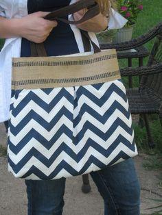 Navy Blue and White Chevron Zig Zag Handbag with Jute Webbing. $44.00, via Etsy.