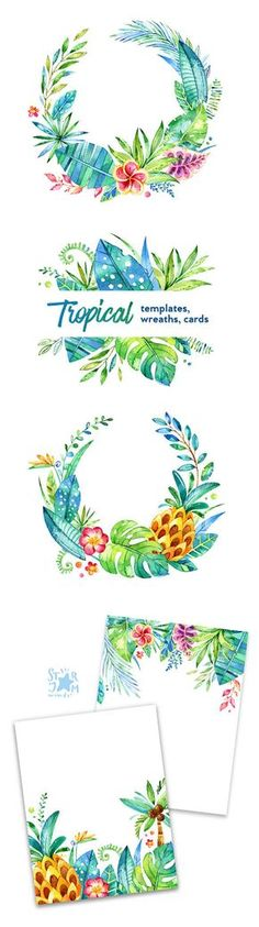 This Tropical Wreaths, Cards, Template set is just what you needed for the perfect invitations, craft projects, paper products, party decorations, printable, greetings cards, posters, stationery, scrapbooking, stickers, t-shirts, baby clothes, web designs and much more.  ::::: DETAILS :::::  This collection includes 5 images:  - 2 Wreaths in PNG(transparent background) and in JPG approx. size: 12.6-11.3in(3800-3400px) - 2 Cards in PNG(transparent background) and in JPG size 8.5x11…