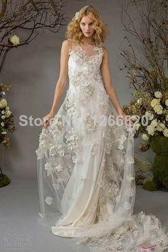 New 2014 Unique a-line tulle appliques flower Wedding Dresses Organza Sweep Train Bridal Gown v-neck vestido de noiva $258.00