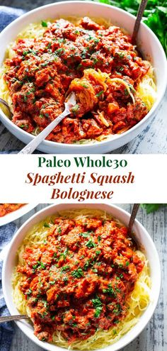 """This easy spaghetti squash bolognese is great for healthy weeknight dinners with a flavorful meat sauce and perfectly roasted """"al dente"""" spaghetti squash! It's dairy-free, Whole30 compliant, paleo, gluten free and Low FODMAP too. #paleo #cleaneating #gutfriendly #SIBO Whole30 Spaghetti Squash Recipe, Whole 30 Spaghetti Squash, Whole 30 Spaghetti Sauce, Gluten Free Spaghetti Sauce, Healthy Spaghetti Sauce, Healthy Weeknight Dinners, Healthy Dinner Recipes, Whole Food Recipes, Whole 30 Easy Recipes"""