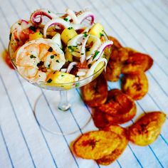 CHAMPAGNE + LAVENDER: Tropical Fruit Ceviche with Plantain Chips champagneandlavender.com @champagnelavndr