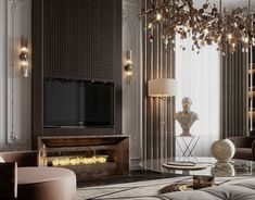 Double height living hall on Behance Neoclassical Interior Design, Contemporary Interior Design, Contemporary Bedroom, Home Design Living Room, Interior Design Living Room, Living Room Entertainment Center, Floor Design, Luxury Interior, Designer