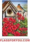 Geranium Birdhouse House Flag Geraniums Garden, House Flags, Garden Flags, Birdhouse, Outdoor Decor, Home Decor, Decoration Home, Room Decor, Bird Houses