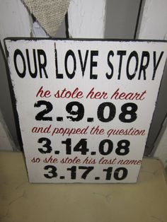 Custom Vinyl Our Love Story with YOUR Dates Wedding by girlinair, $35.00