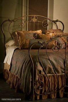 "I'm not usually into "" ornate"" design, but even I can't help but fall for the romance of a wrought iron bed frame. Dream Bedroom, Home Bedroom, Bedroom Decor, Tuscan Bedroom, Master Bedroom, Wrought Iron Beds, Home Goods Decor, Home Decor, Brass Bed"