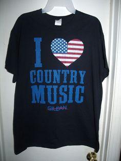Gildan Navy Blue I Heart Country Music USA Flag Patriotic Size L Large #Gildan #GraphicTee