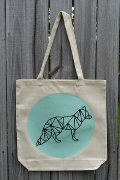 Geometric Fox Tote Bag  Pick Your Color   Fox Tote Bag by KateDoug, $18.00  https://www.etsy.com/shop/KateDoug
