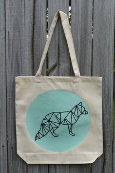 Geometric Fox Tote Bag  Pick Your Color   Fox Tote Bag by KateDoug, $18.00  https://www.etsy.com/shop/KateDoug
