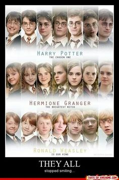 I love how Harry stops smiling, then Hermione, and then Ron as they all realize the dangers and hard times ahead