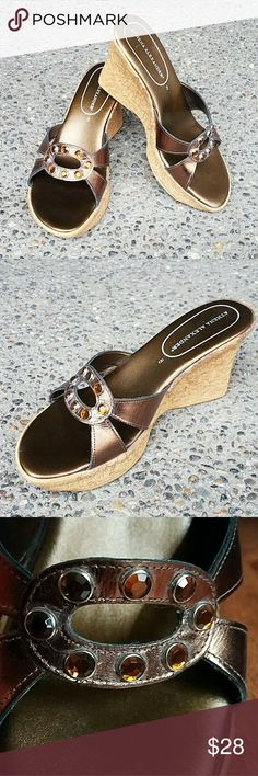 """Athena Alexander Bronze Sandals SZ 8 Wedge W/Rhinestone Detail, Leather Upper, Faux Cork Heel, 3.5"""" Heel W/Approx 1"""" Platform, I wear a size 7.5 and these fit good at a size 8 so I think they run a little small. Excellent Condition - No Heel or Toe Marks. Purchased from Nordstrom. Athena Alexander  Shoes Sandals"""