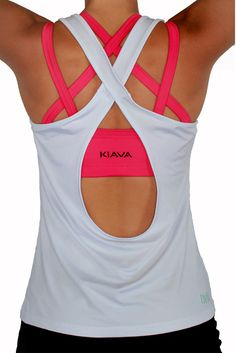 The White Scoop top with our Hot Pink Endurance Bra! Super cute workout clothes from Kiava!