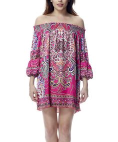 Take a look at this Fuchsia Off-Shoulder Tunic by Classique on #zulily today!