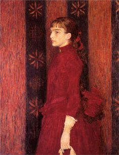 """artist-rysselberghe: """" Portrait of a Young Girl in Red, Théo van Rysselberghe Size: cm Medium: oil on canvas"""" Théo Van Rysselberghe, Van Gogh Pinturas, Digital Museum, Illustration Art, Illustrations, Post Impressionism, Vincent Van Gogh, Figurative Art, Painting & Drawing"""
