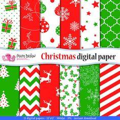 Christmas Digital Paper. Scrapbook Backgrounds. di PolpoDesign
