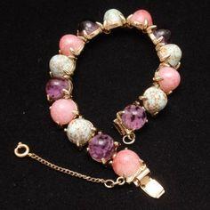 Gumdrop Bracelet Vintage 1950s Pink Purple & Robin's Egg Blue
