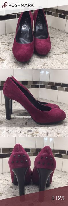 TODS Gomma Pumps New in original box beautiful wine colored suede round toe pumps with 4 inch heel and the signature TODS textured sole Tod's Shoes Heels