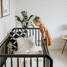 Black Jenny Lind Crib // Magnolia Wallpaper // Nursery Signs // Jamie Jones Photography // Styled by Sleep and the City