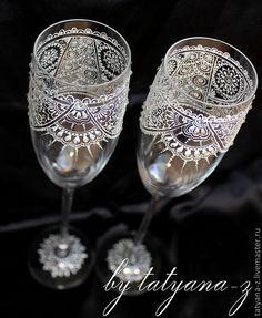 """Купить Свадебные бокалы """"Парижское кружево"""" - свадьба, свадебные бокалы, свадебное кружево, бокалы с кружевом"""