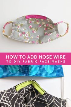 How to add nose wire to DIY fabric face masks. Shows how to add removable wire to several different free sewing patterns for fabric masks. - How to add nose wire to DIY fabric face masks Sewing Hacks, Sewing Tutorials, Sewing Crafts, Sewing Projects, Sewing Tips, Hair Tutorials, Fabric Crafts, Diy Crafts, Sewing Patterns Free