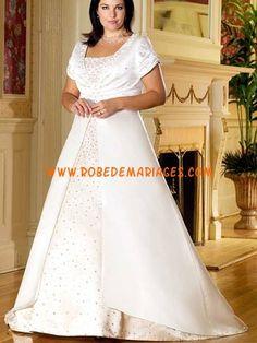 Robe de mariée grande taille perles manche courte